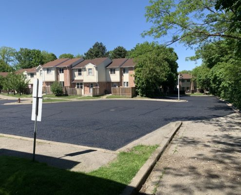 Image depicts a parking lot in NOrth York that has been sealed.