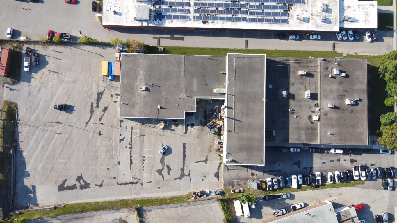 Commercial parkign lot before asphalt sealing and line painting.